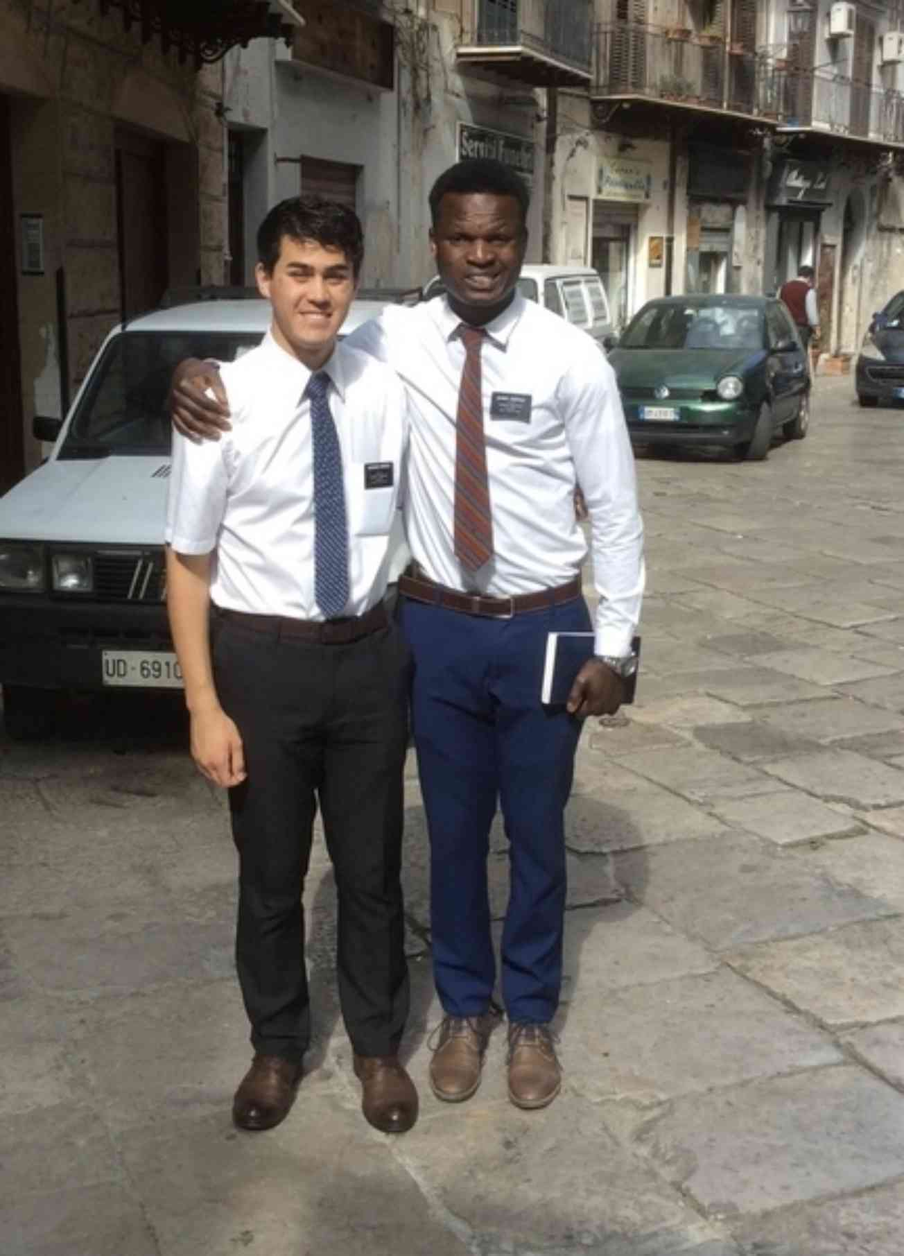 Bolaji With His Mission Companion In Italy