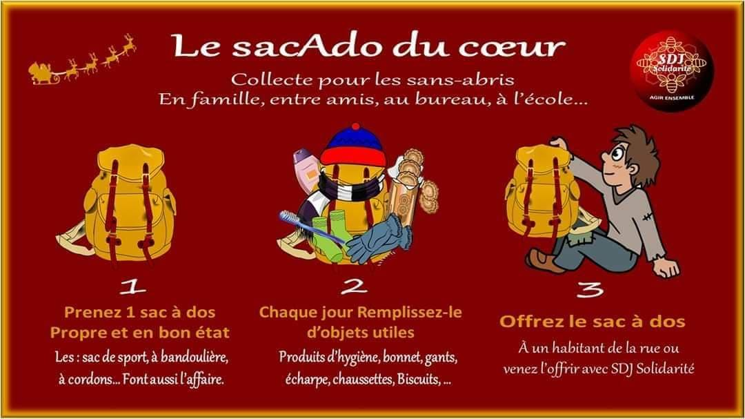 Advertisement for backpack contributions for refugees