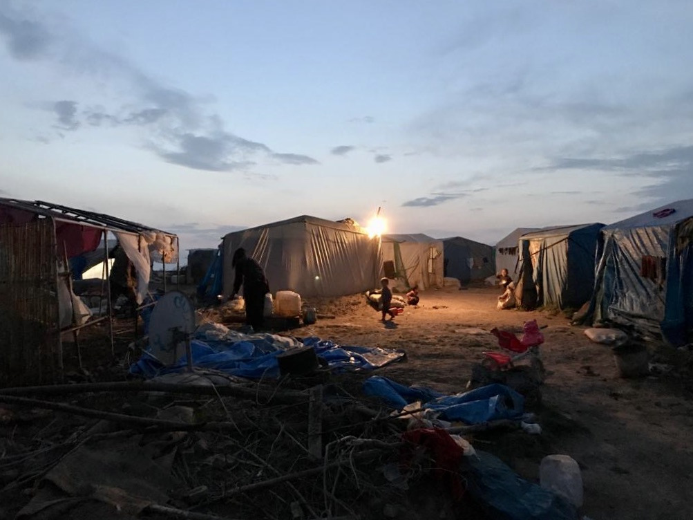 refugee camps at night time