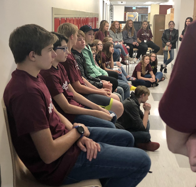 High school kids attending a class