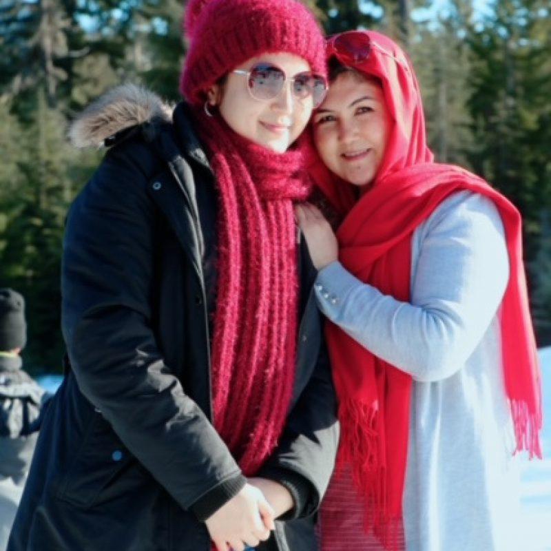 Marzia and Razia snow photo