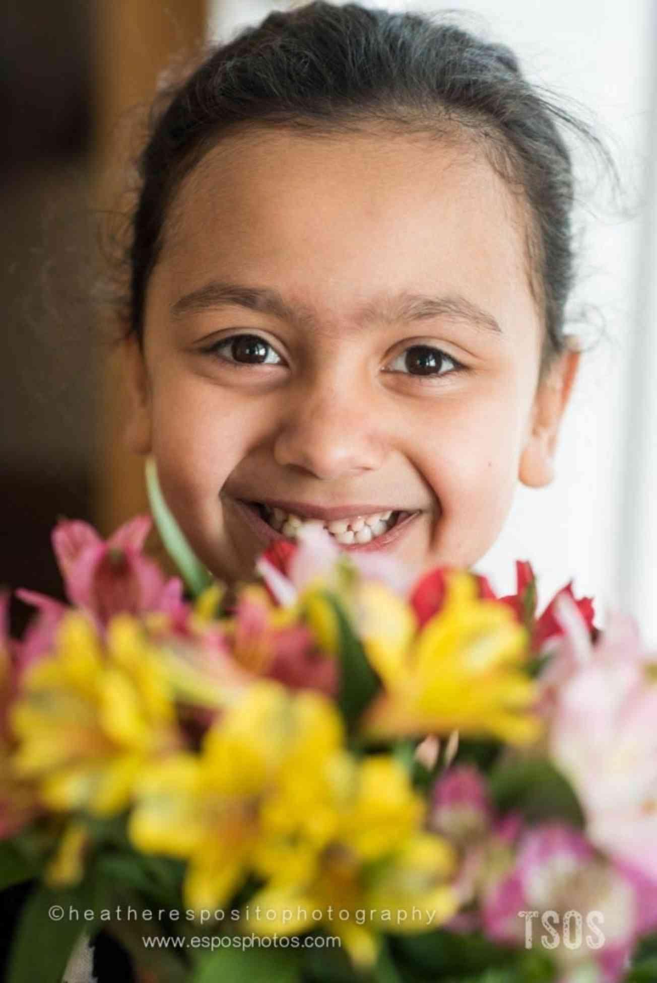 Sakina with flowers